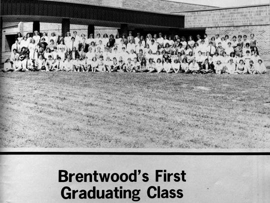 Yearbook photo of Brentwood High School's first graduating