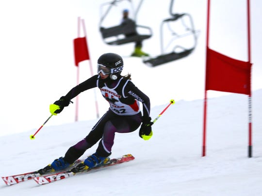 Northville's Elise Daniel competes in the Mt. Brighton High School Skiing Association meet on Feb. 9.