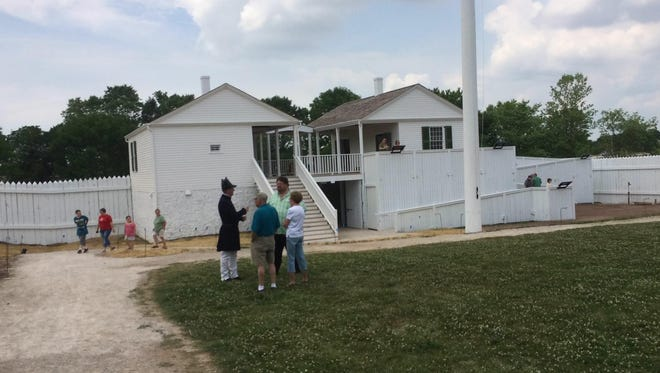 Heritage Hill State Historical Park's newest exhibit, a reproduction of the entry to Fort Howard.