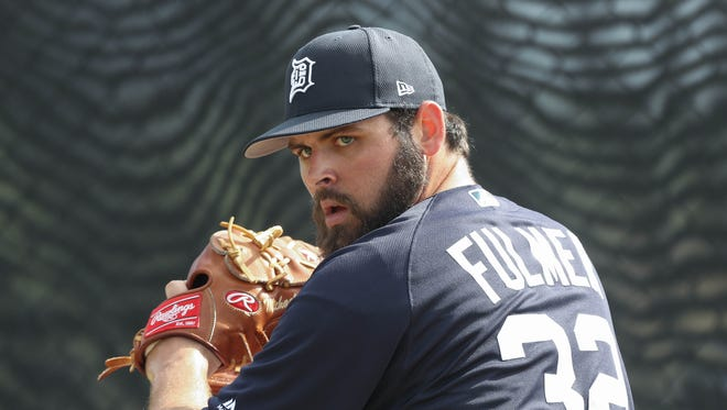 Tigers pitcher Michael Fulmer throws during a workout in spring training on Feb. 19, 2017, in Lakeland, Fla.