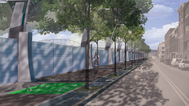 A steel flood wall for downtown Nashville would be a part of a $110 million flood protection system. A study also recommended inflatable barriers or a floodproofing/elevation plan.