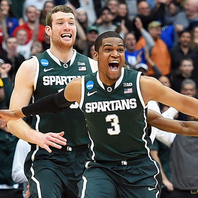 Michigan State's Alvin Ellis III and Matt Costello