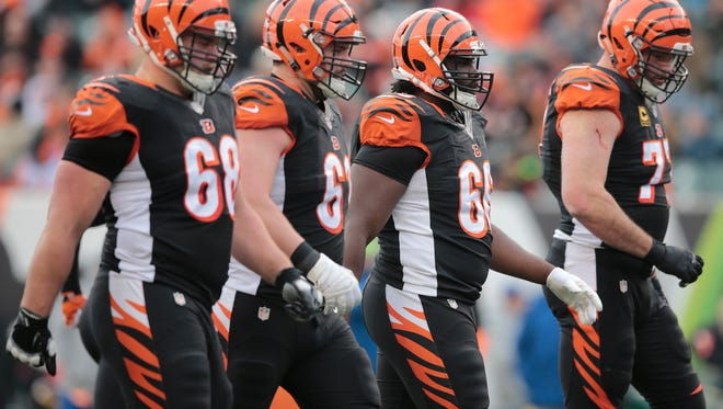 The offensive line walks up to the line of scrimmage during the Week 17 NFL game between the Cincinnati Bengals and the Baltimore Ravens, Sunday, Jan. 1, 2017, at Paul Brown Stadium in Cincinnati.