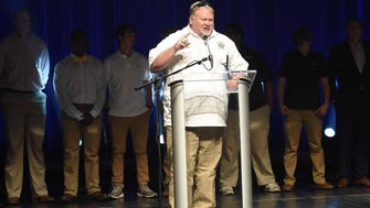 Pearl head football coach John Perry makes a point during his acceptance of the school's Team of the Year Award on Tuesday, May 22, 2018, at the fourth-annual Clarion Ledger Sports Awards at Thalia Mara Hall in downtown Jackson, Miss.