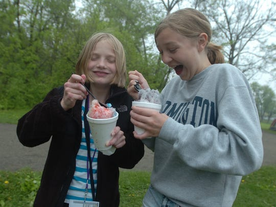 Maggie Kramer, left, and Lia Schroeder munched on snow