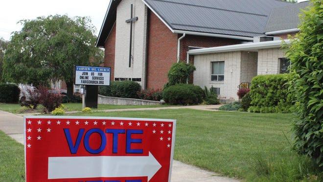 A 'Vote Here' sign is pictured in front of Fairview Avenue Brethren in Christ Church, the polling place for Waynesboro 3-2, for Tuesday's Pennsylvania primary election. BEN DESTEFAN/THE RECORD HERALD