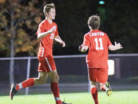 Congratulating each other after a Canton goal Wednesday