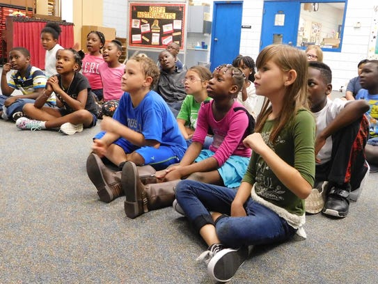 Engaged music students at Sealey Elementary School.