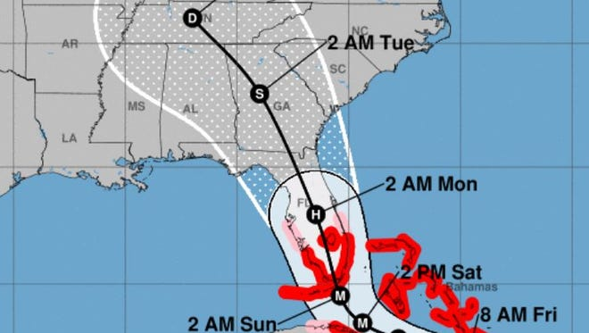 As of 5 a.m. Friday, Hurricane Irma is forecast to stay to the west of South Carolina.