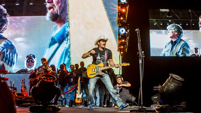 Brad Paisley performs during his Weekend Warrior World Tour, Saturday, January 27, 2018, in Phoenix.