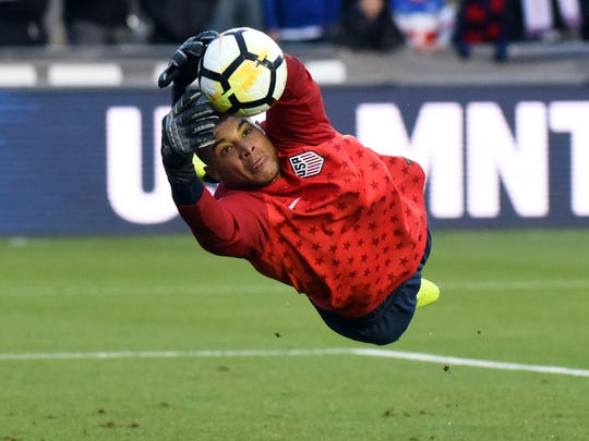 United States goalkeeper Zack Steffen warms up prior to an international friendly men's soccer match against Paraguay at WakeMed Soccer Park in Cary, N.C.