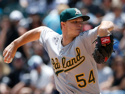 Oakland Athletics starting pitcher Sonny Gray throws against the Chicago White Sox during the first inning of a baseball game Sunday, June 25, 2017, in Chicago. (AP Photo/Nam Y. Huh)