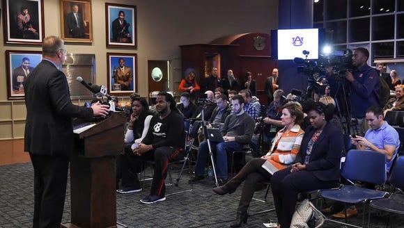 Auburn athletics director Jay Jacobs speaking to media