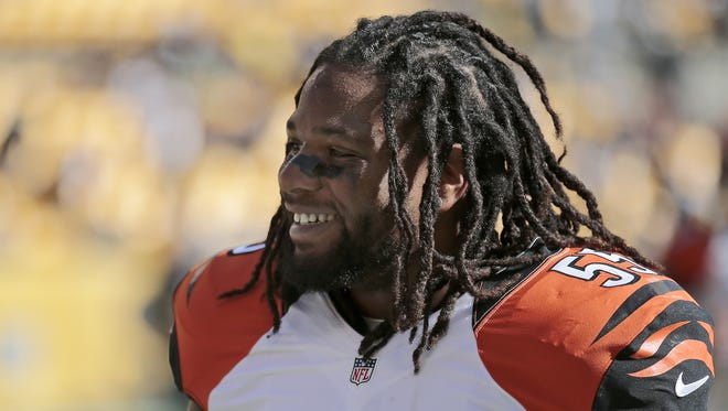 Bengals outside linebacker Vontaze Burfict heads back to the locker room before the first quarter.