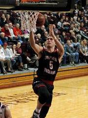 University of Southern Indiana's Nate Hansen (5) gets and unmolested layup against Bellarmine University  in their  GLVC men's basketball game at Knights Hall in Louisville, Ky., Monday, Jan. 15, 2018.