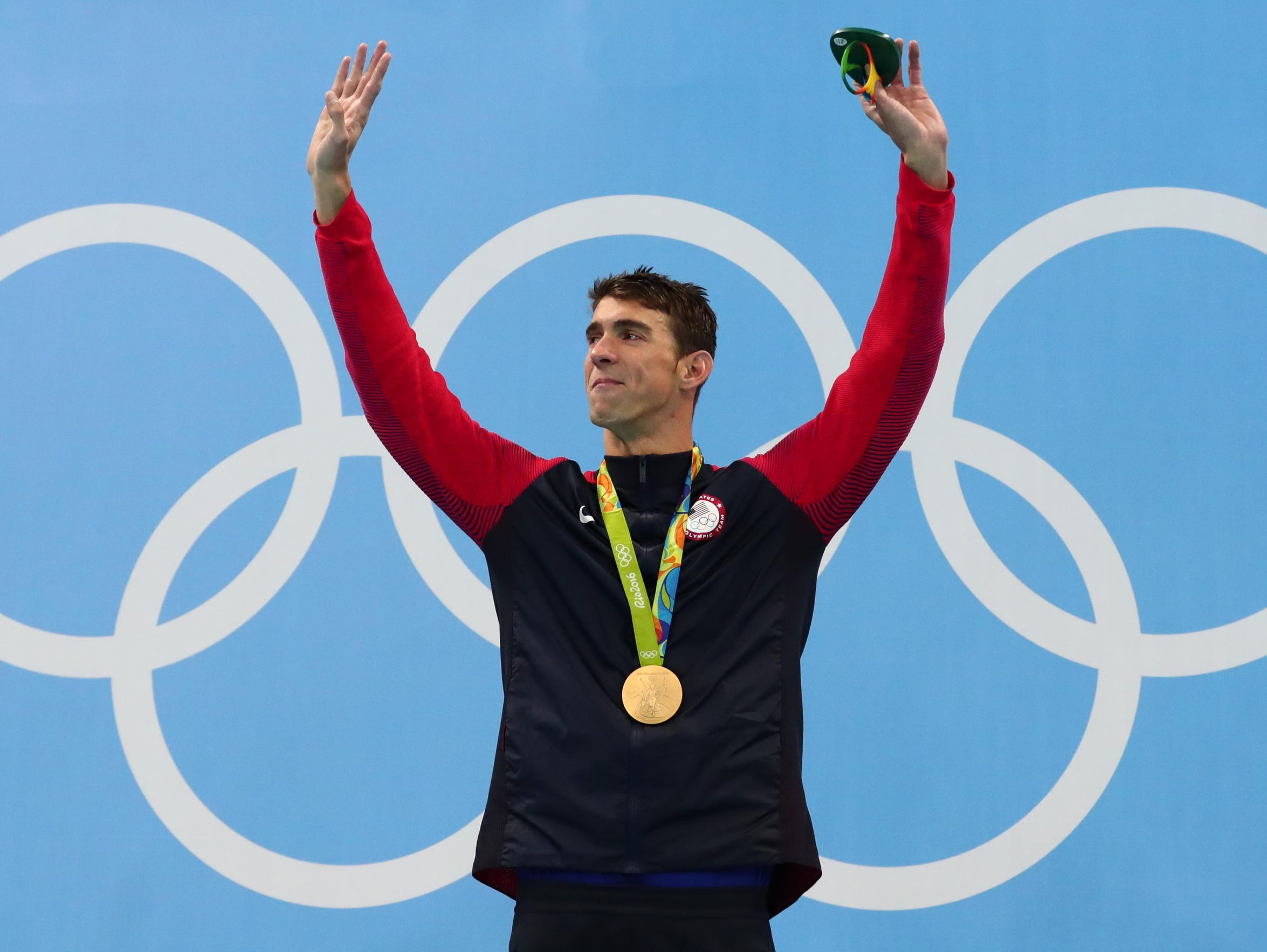 Michael Phelps waves goodbye at the Rio Olympic Games