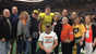 Tyler Linderbaum (middle) poses with his family and