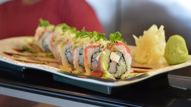 The Viper Roll — made with shrimp, cream cheese, avocado and garnished with a touch of seaweed.