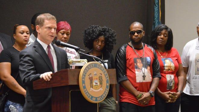 Delaware Attorney General Matt Denn announces the indictments Friday.