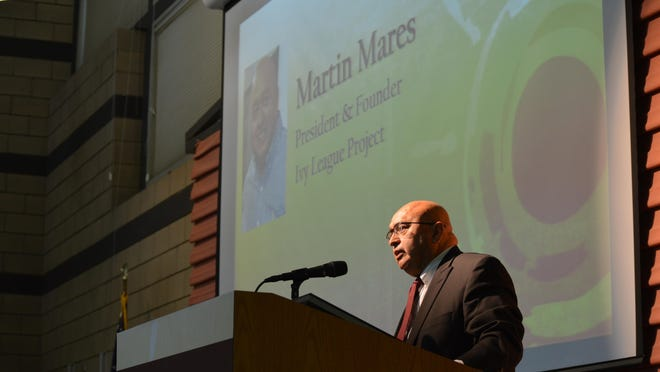 Martin Mares speaks during the Hispanic Heritage Month 2016 celebration held on Friday in Tulare.