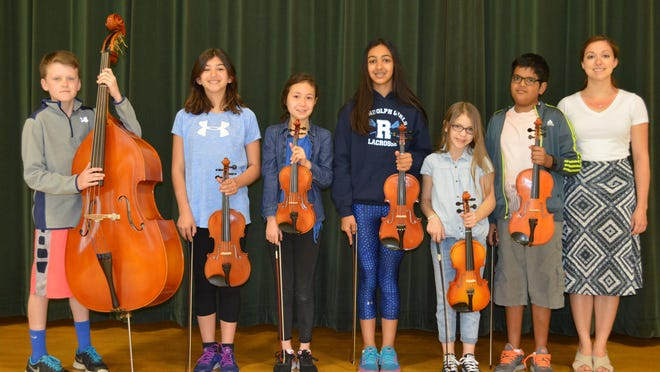 Among those selected for the North Jersey Region 1 Strings Festival are, Shongum students, pictured left to right with Kim Chiesa, Brady Cox, Maria LaPietra, Rena Zeiger, Isabella Crosson, Madelyn Pasuit and Kavin Chandrasenat. Not pictured, Shongum student Brandan Angilello.