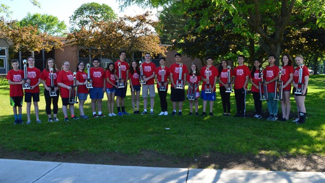 The Randolph Middle School students pictured here were selected to represent their respective musical ensemble at the Music in the Parks Festival: Alex Winans, Patrick Bourke, Caroline Apt, Maddy Burger, Kate Cullin, Michael Luciano, Giselle Ruiz, Kris Charles, Shoshana Zeiger, Kieran Lucus, Emily Knapp, Jacob Liu, Clara Apt, Paul Recchia, Isabella Dimichino, Spencer Gaffney, Priscilla Peters, Chenghiz Kao, Jacqueline Quinn and Abigail Herring.