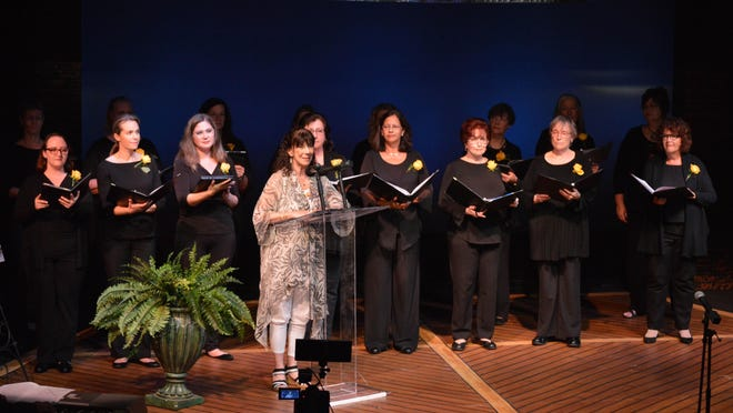 Actress Carolyn Michel and members of the Choral Artists of Sarasota sing during a kickoff event in December for the Suffragist Project, which involved dozens of organizations exploring ways to mark the 100th anniversary of women gaining the right to vote, in 2020.