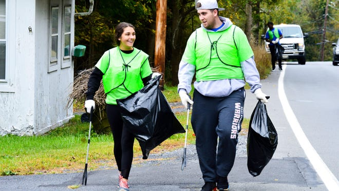 Student volunteers from East Stroudsburg University participate in the annual 'Pick Up Poconos' event on Sept. 28, 2019.