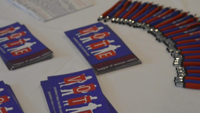 Programs are on display during the May 30, 2019 League of Women Voters Holland Area annual meeting in Holland. On Thursday, Sept. 17, the LWVHA will hold its annual kickoff event to increase enthusiasm for the November election.
