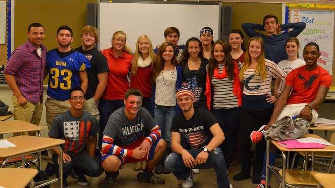 Buena Regional High School's Peer Leaders celebrated Freedom Friday, during Respect Week, by wearing red, white and blue.