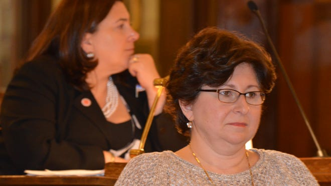 Legislator MaryJane Shimsky, D-Hastings-on-Hudson, right, joined two Democrats and seven Republicans to pass Westchester County's $1.8 billion budget. Legislator Catherine Borgia, D-Ossining, left, voted no.