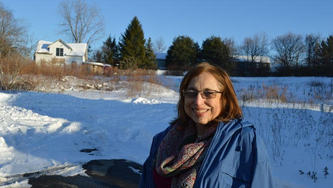 Ossining Receiver of Taxes Gloria Fried stands by the 10-lot subdivision atop Thornton Hill that the town wants to sell to recoup back taxes of nearly $200,000.