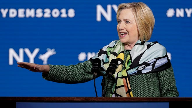 Former Secretary of State and former Democratic Presidential candidate Hillary Clinton speaks during the New York state Democratic convention, Wednesday, May 23, 2018, in Hempstead, N.Y.