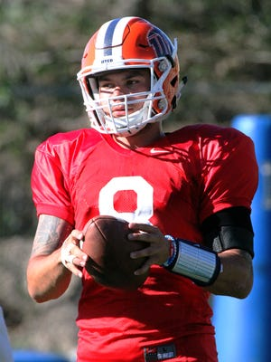 UTEP quarterback Zack Greenlee practiced in full pads Tuesday.