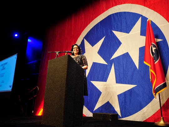 Mary Mancini speaks during Tennessee Democratic Party's