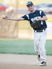 Glen Rock's Alexander Coombs, throws a ball to first