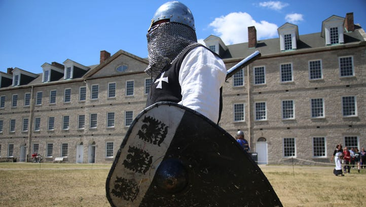 Louis LePage, 43, of Windsor is a member of the Society for Crative Anachronism and dresses as a squire, during the Medieval Days weekend at the Historic Fort Wayne in Detroit on Sunday, July 10, 2016.