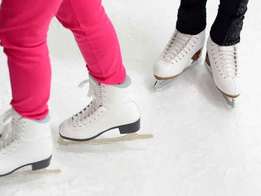 Figure skaters with their specialized skates hit the