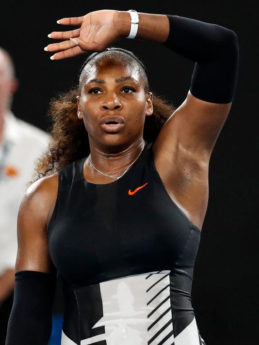 United States' Serena Williams waves to the crowd after defeating Lucie Safarova of the Czech Republic in their second round match at the Australian Open tennis championships in Melbourne, Australia, Thursday, Jan. 19, 2017. (AP Photo/Kin Cheung)
