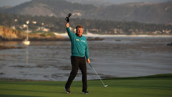 Paul Broadhurst celebrates after making a birdie on the 18th hole to win the Nature Valley First Tee Open at Pebble Beach.