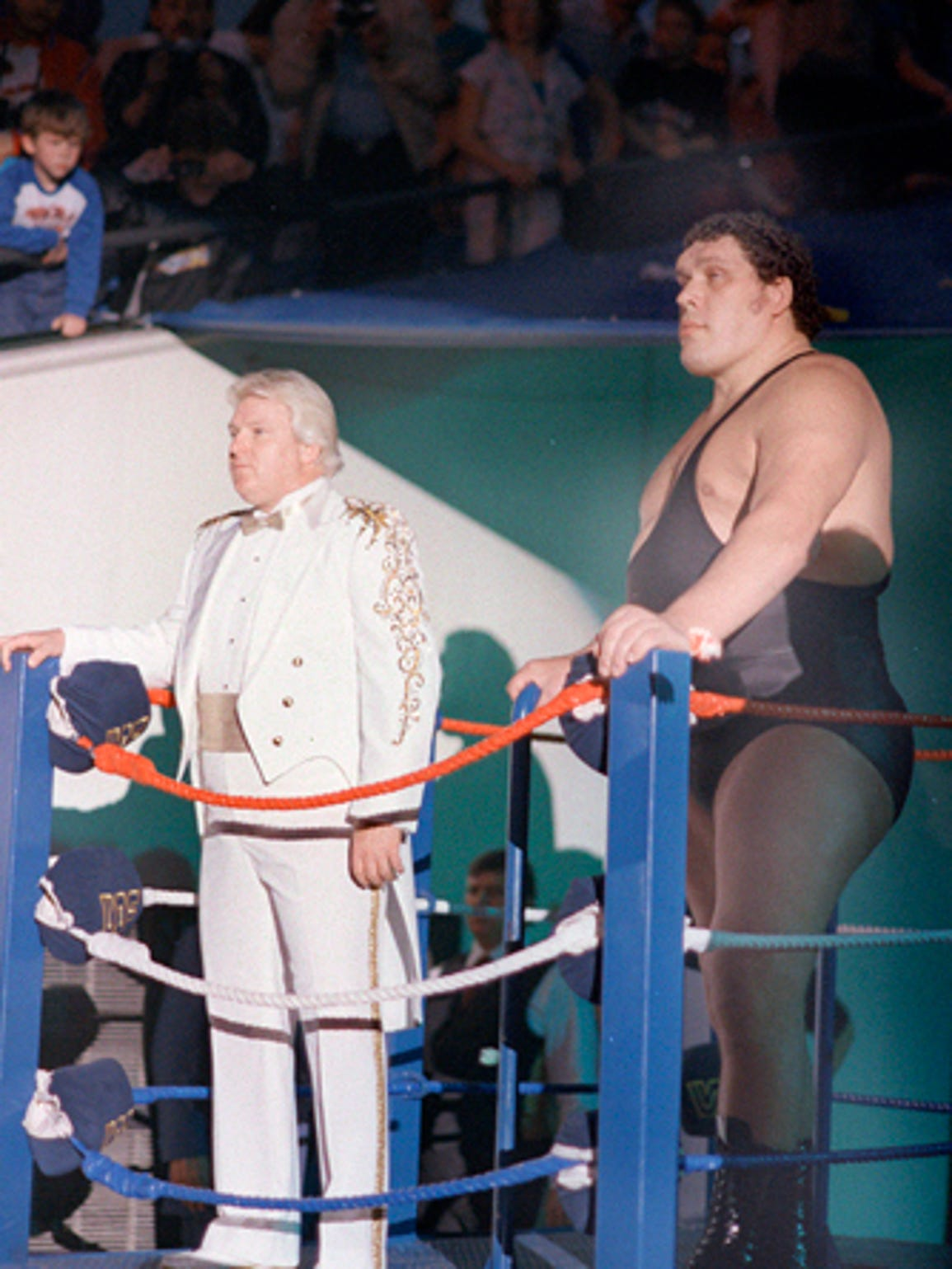 Andre the Giant makes his way to the ring, along with
