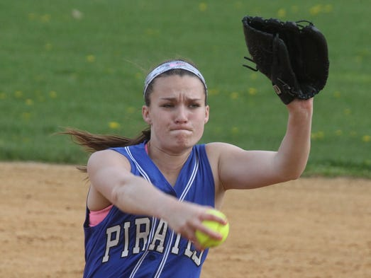 Pearl River's Mandy McCarthy delivers a pitch during a game at Nanuet May 2, 2014. Pearl River won 13-2.