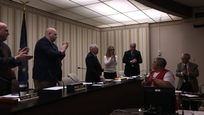 Larry Parker, who is retiring after 36 years on the Richmond Common Council and Richmond Power & Light board, received a standing ovation for his community service at his final RP&L board meeting.