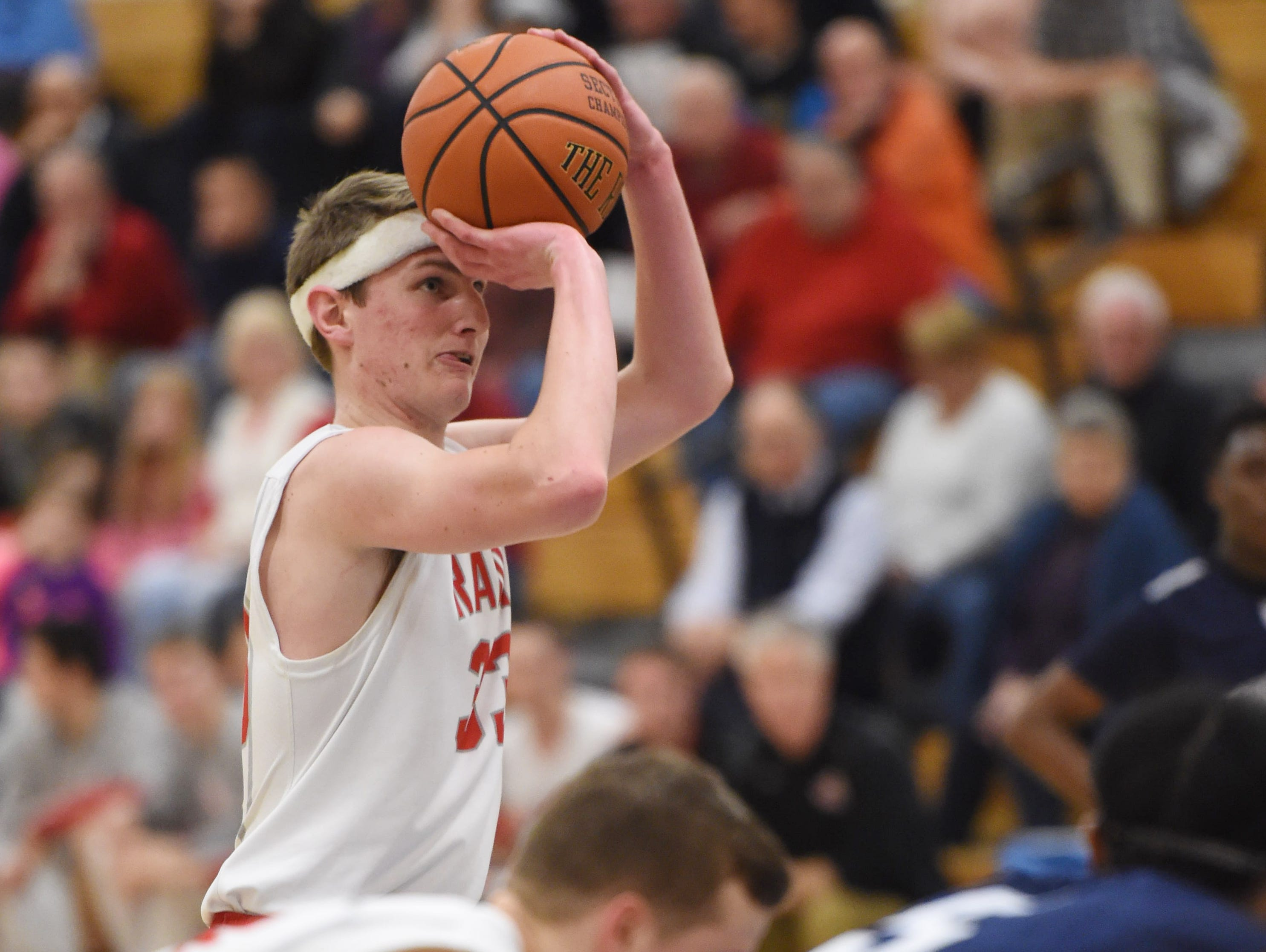 Red Hook High School's Colin Bemis takes a free throw against Poughkeepsie in the Mid-Hudson Athletic League semifinals on Feb. 17 at SUNY Ulster.