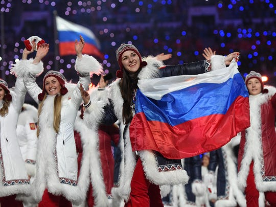 In a file photo from Feb 7, 2014, Russian athletes