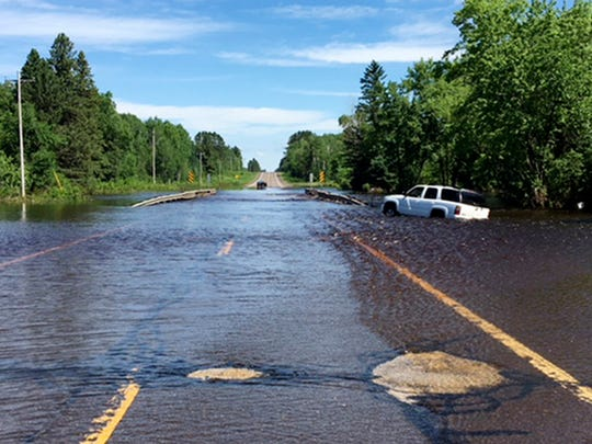 Flash flooding along Wisconsin Highway 35 over Black