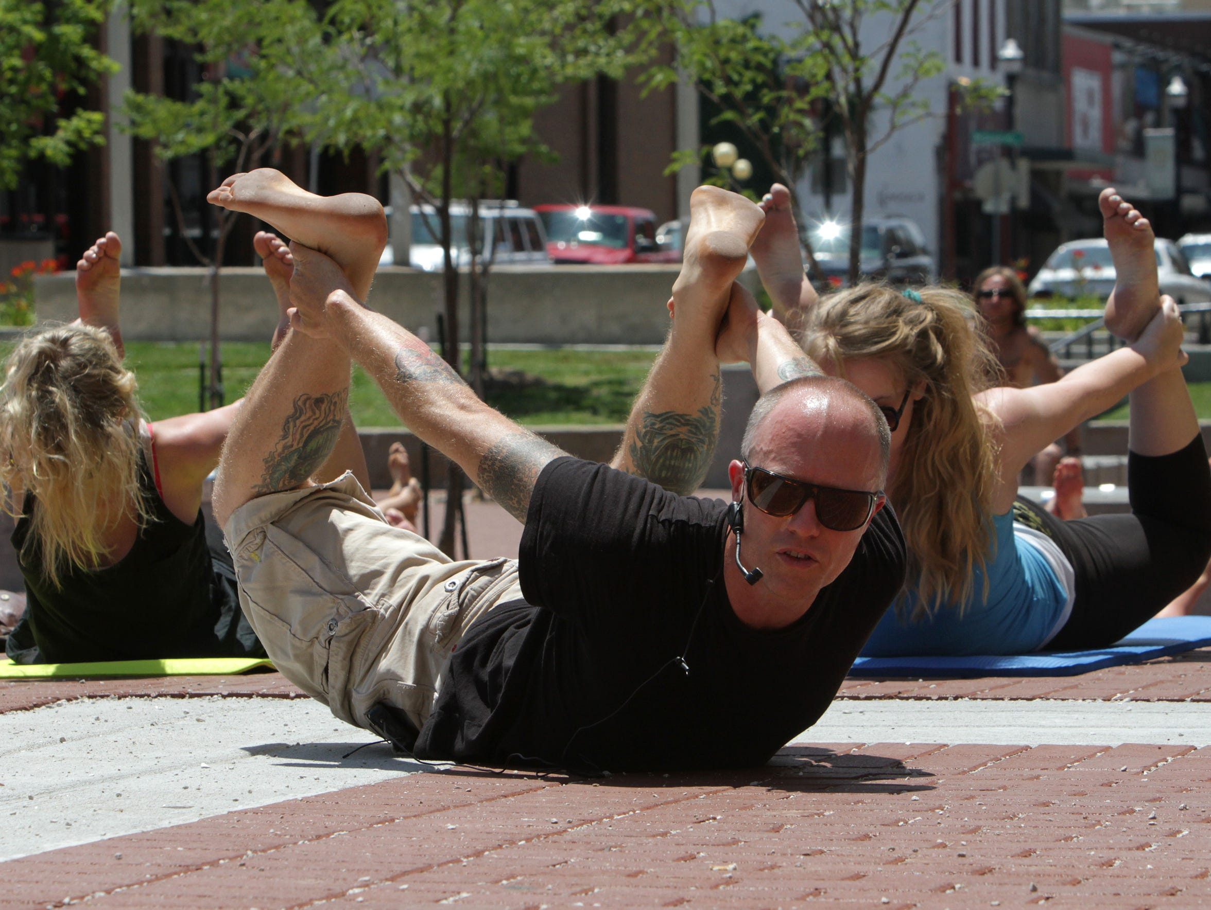 "Rod Buckner taught ""Yoga on the Square"" at Park Central"