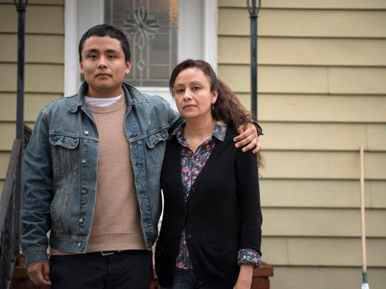 """There are many of us who are good, who have done things right, and all we want to do is work, have a tranquil life, one that this country has provided for me,"" said Dinora Galdamez Martinez, shown with her son, Steven Montes."