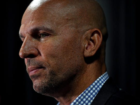 ormer basketball player Jason Kidd speaks during the