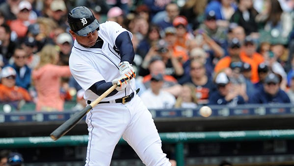 Miguel Cabrera connects for a single to lead off the third inning.